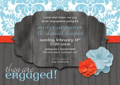 Rustic Engagement Party Invitation Red and Turquoise.