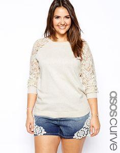 ASOS CURVE – Pullover mit Raglanärmeln aus Spitze