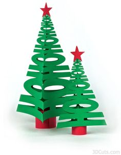 Handmade Christmas Tree Design for table decor by 3dCuts.com, Marji Roy, 3D cutting files in .svg, .dxf, png and .pdf formats for use with Silhouette and Cricut cutting machines, paper crafting files,