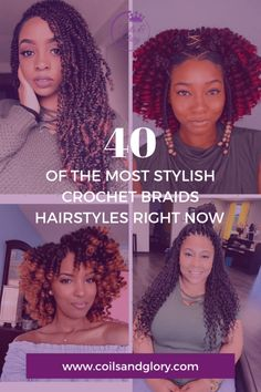 crochet braids Looking for the next stylish protective style? try one of these 40 crochet braids. braid styles videos havana twists natural hair Crochet braids hairstyles for 4 Curly Crochet Hair Styles, Crochet Braid Styles, Curly Hair Styles, Crotchet Styles, Trending Hairstyles, Twist Hairstyles, Protective Hairstyles, Senegalese Twist Crochet Braids, Crotchet Braids