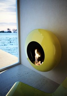 Bioethanol Wall-Mounted carbon steel Fireplace BB by ANTRAX IT | #Design Andrea Crosetta (2011) #fireplace #yellow #colour