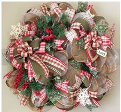 Winter Valentine Deco Mesh Wreath, day wreath mesh Your place to buy and sell all things handmade Mesh Ribbon Wreaths, Christmas Mesh Wreaths, Valentine Day Wreaths, Deco Mesh Wreaths, Christmas Crafts, Christmas Decorations, Winter Wreaths, Floral Wreaths, Prim Christmas
