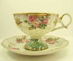 Royal Hasley tea cup with Hand Painted Roses and Heavy Gold  Trim
