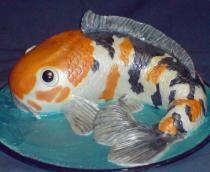 Koi fish sculpted cake.JPG