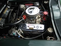 '65 Glenn Green Corvette Convertible with 327 CID, 4 speed, Vintage Air, Side Pipes, Original wheels and hubcaps, rust free chassis, big block hood is GM, not aftermarket. Drive this car anywhere. Corvette Convertible, Vintage Air, Rust Free, Pipes, Wheels, The Originals, Big, Green