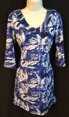 Vertigo Paris Dress Small 0-4 Sheath Stretch Jersey V-Neck 3/4 Length Sleeve  | eBay