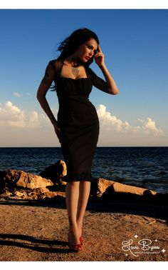 Micheline Dress in Black with Black Chiffon Trim