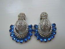 Vintage Signed Bellini Rhinestone Fan-shaped Drop Earrings