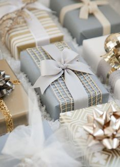 Grey, white, and gold gift wrap