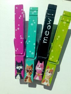 CAT CLOTHESPINS hand painted magnetic clothespins Meow magenta lime black aqua by SugarAndPaint on Etsy