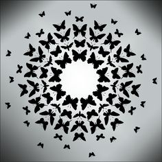 Design principle-2    Example of radial balance  Animal and Bird Moths to a Flame stencils, stensils and stencles