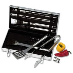 Chefmaster 22pc Steel Barbeque Tools Set by Chef-Master. $44.14. 12 Corn Cob holders, Grill Brush, 4 skewers and case.. Long Handles. 22pc BBQ Tools Set. Surgical Stainless Steel. Includes Basting Brush, Tongs, Spatula, Fork. Chefmaster 22pc Surgical Stainless Steel BBQ Tools Set. Has Long Handles. This BBQ Tools Set has Surgical Stainless Steel implements and Long Handles with Hang up design. Set includes:  Grill Brush BBQ Tongs BBQ Spatula 12 Corn Cob holders Fork ...
