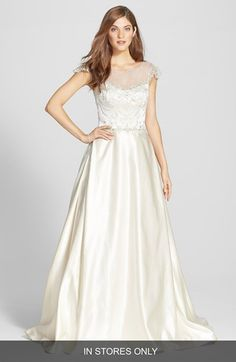 James Clifford Collection James Clifford Illusion Bodice Satin Ballgown (In Stores Only) available at #Nordstrom #weddingdress