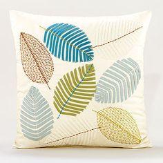 Cool Tones Scattered Leaves Toss Pillows @worldmarket