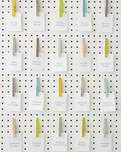 10 unique DIY wedding guest escort cards and seating charts - Wedding Party Handmade Wedding, Diy Wedding, Wedding Blog, Wedding Decor, Wedding Ideas, Wedding Things, Spring Wedding, Painted Pegboard, Washi Tape Diy