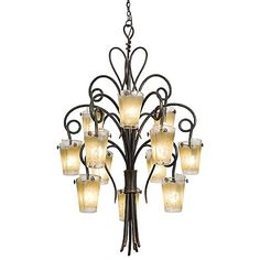 """Tribecca Foyer Chandelier The 6 light option would fill the space nicely at 36""""  shown in Antique Filigree glass $1,998"""