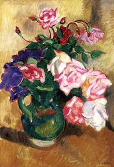 Bouquet of Roses in a Green Pitcher Louis Valtat - 1907