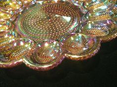Vintage Amber Carnival Hobnail Deviled Egg Plate by JaybirdFinds, $30.00