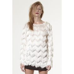 Storets Eyelash Fringe Yeti Sweater Top (750.330 IDR) ❤ liked on Polyvore featuring tops, sweaters, white sweater and white top