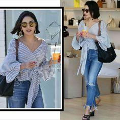 A Vanessa Hudgens também arrasou na produção para fazer compras em Los Angeles. Ela usou uma combinação de blusa quadrada com jeans rasgado azuis e acessórios fashion, pretos.♥️💫 #vanessahudgens #creative #fashion #style #inspirations #losangeles