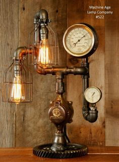 Steampunk Lamp Industrial Machine Age Steam Gauge Light Train Nautical Loft Gear in Collectibles, Lamps, Lighting, Lamps: Electric | eBay