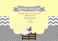 Lamb Baby Shower Invitation  Little Lamb by SweetEPaperBoutique