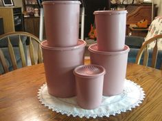 Vintage set of five Pink Tupperware Canisters 1970 Tupperware Canisters, Small One, Mugs, Tableware, Pretty, Pink, Vintage, Dinnerware, Tumblers