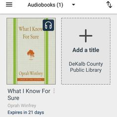 #bookvibes and other book-ish: #WHATIKNOWFORSURE by #OprahWinfrey on #audiobook via #OverDrive from #dekalbcountypubliclibrary #eBooks | #turnupabook #theresanappforthat #scribesandvibes #bookish #recommendedreads | #dcpldigital