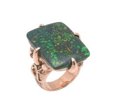 Black Opal set in a solid Rose Gold ring with claws by Giovanni D'Ercole of Love and Hatred