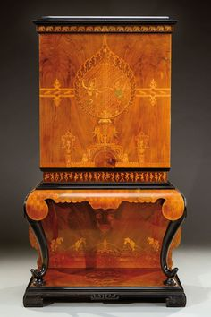 A collectors cabinet in black tinted wood with a rich exotic wood veneer - Art Furniture, Art Nouveau Furniture, European Furniture, Antique Furniture, Furniture Design, Wooden Furniture, Decoration, Art Decor, Art Deco Home