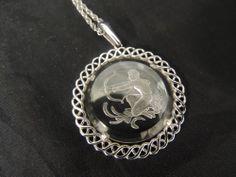 Vintage Silver Sagittarius Necklace Zodiac Pendant Chain Trifari Glass Intaglio