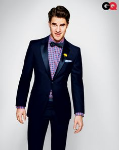 GLEE star Darren Criss brightening up a tuxedo for a GQ photo shoot