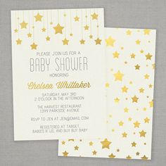 Baby Shower Invitation Gold Stars by greysquare on Etsy