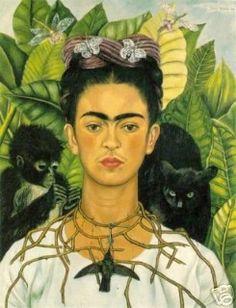 Self Portrait with Necklace of Thorns, Autorretrato con Collar de Espinas, Frida Kahlo, C0350