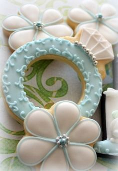 Wedding or engagement decorated cookies, ring, blossom