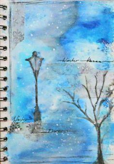 Winter Wonderland, Winter Kisses - Art Journal Page with Brusho, Marabu Art Crayons, Gesso and handpainting ellement. - Idee/ Umsetzung Daniela Rogall