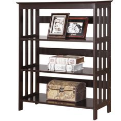 Aix Espresso Finish Wooden 3 Shelves Bookcase ($89) ❤ liked on Polyvore featuring home, furniture, storage & shelves, bookcases, brown, dark brown shelves, wooden display shelf, wood book shelves, book shelves and 3 shelf bookcase