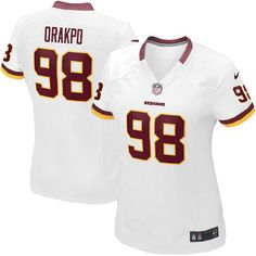 The officially licensed Nike NFL Elite Women's Washington Redskins White #98 Brian Orakpo Jersey provides ultimate breathability so you can enjoy the superior comfort while rooting for your favorite player. This Nike NFL Elite Women's Washington Redskins White #98 Brian Orakpo Jersey is constructed with water-repelling fabric to keep you dry and with a tailored fit to keep you comfortable.$109.99