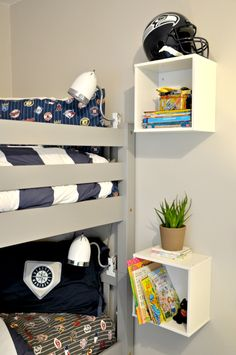 [orginial_title] – Kids Room Ideas Shared if we do get bunks someday, these little boxes would make great nightstands for both beds! if we do get bunks someday, these little boxes would make great nightstands for both beds! Bunk Beds Boys, Bunk Bed Rooms, Cool Bunk Beds, Kid Beds, Boys Bunk Bed Room Ideas, Box Room Bedroom Ideas For Kids, Bunk Bed Decor, Girl Rooms, Bunk Bed Shelf