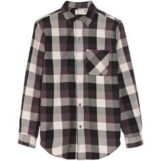 Current/Elliott The Prep School plaid cotton shirt ($145) ❤ liked on Polyvore featuring tops, shirts, blouses, flannels, long sleeves, black, long sleeve cotton shirt, long sleeve plaid shirt, current elliott shirt and preppy shirts