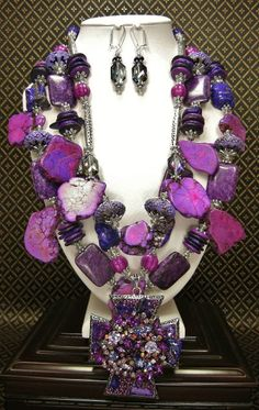 BLACK VELVET - CHUNKY PURPLE STATEMENT Necklace Set / Cowgirl Necklace Set / Rhinestone Pendant Necklace / Purple Jewelry / Statement - See more at: http://www.buckaroobay.com/catalog.php?item=7894#sthash.shpf4dM4.dpuf