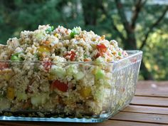 Quinoa-Garden Salad - easy to fix! Add chix, hard-boiled egg or cheese for texture and proteins.