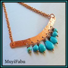 Textured Copper and Turquoise Necklace $45  http://www.rubylane.com/shop/muyifabu