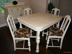 Creamy White, Distressed Antique Table and Chairs