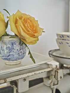 Chateau Chic - Blue transferware cup on vintage French scale