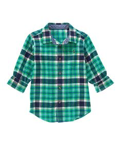 This Green & Navy Plaid Brushed Flannel Button-Up - Boys by Gymboree is perfect! #zulilyfinds
