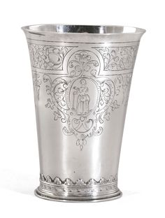 JAN JANSEN UYL DUTCH SILVER MARRIAGE BEAKER, tapering cylindrical, engraved with four standing female figures within strapwork and foliate scrolls, the underside engraved with two coats-of-arms hanging from a branch 10.6cm, 4 1/8in high 110gr, 3oz 10dwt Sneek, 1656