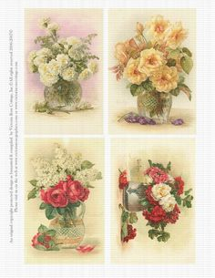 Attic Roses Carnations DeLongpre Vases Victorian Set of 4 Digital Collage Sheet 259