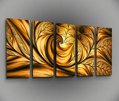 Metal Wall Art Canvas Abstract Modern Contemporary Painting Sculpture Home Decor Golden Beauty on Etsy, $59.99