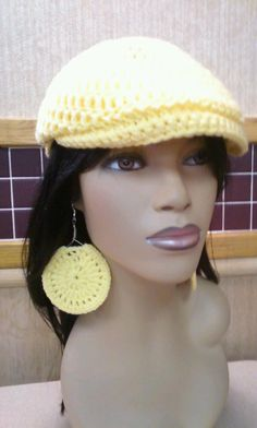 Yellow Newsboy hat with free teardrop shaped by ScarFanatic, $40.00